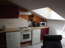 Open plan kitchen: hob, oven, microwave, dishwasher, kettle, coffee filter, toaster, fridge (with ice box), full supply of crockery/cutlery/glasses/mugs/cooking utensils/pots/pans/Raclette etc