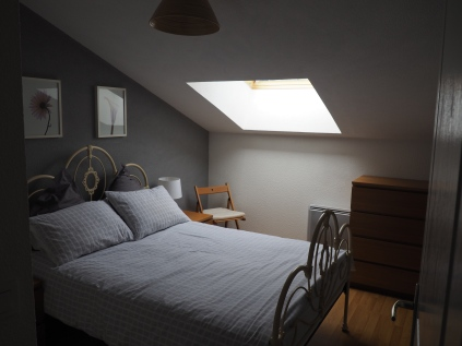 Main bedroom with double bed, x2 bedside drawers, x2 bedside lamps, x1 large chest of drawers, wardrobe, hairdryer