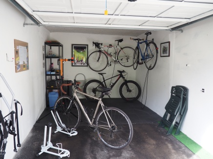 Bicycle workshop in the garage - perfect for storing your bike whilst on holiday and we have tools & equipment for you to use.
